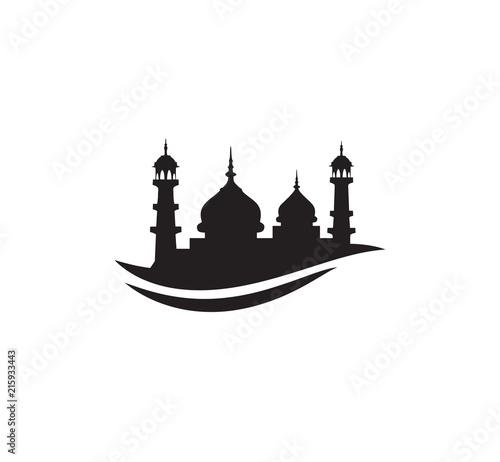 Black Silhouette Mosque Sign Logo Symbol Vector Design Stock Image