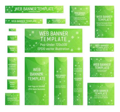 Green web banners. Standard size. Vector illustration. Design spring