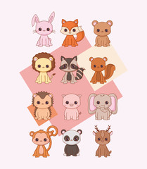 Kawaii animals icon set over pink background, colorful design. vector illustration