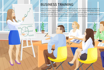 Business Training Poster Text Vector Illustration