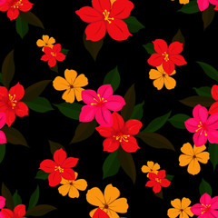 Seamless small floral tropical leaf autumn color Pattern in Vector hand drawn  modern design,