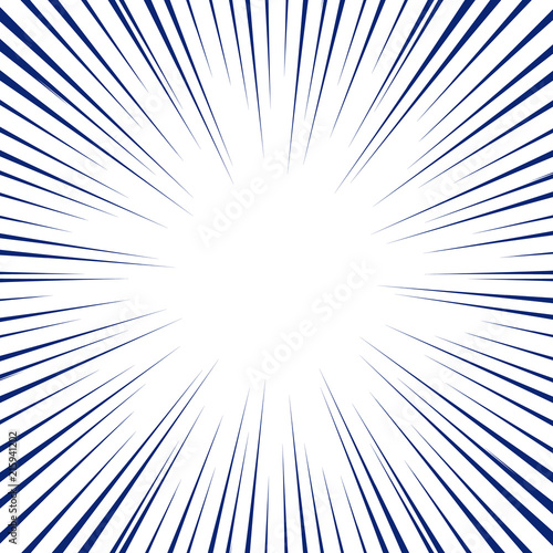 Blue radial lines for comic book background. Manga speed frame ...