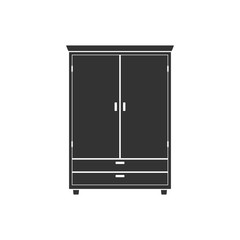 Wardrobe icon isolated on background. Natural wooden Furniture. Room interior element cabinet to create apartments design. Vector illustration