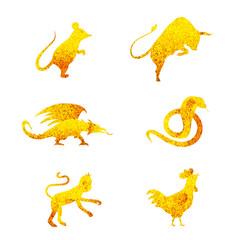 six golden chinese year lunar zodiac horoscope symbols