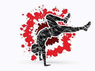 Street dance, B boys dance, Hip Hop Dancing action graphic vector