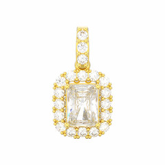 3D illustration isolated decorative yellow gold diamond necklace