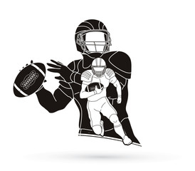 American Football player action, sportsman player, sport concept graphic vector.