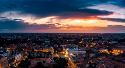 Foto op Aluminium Luchtfoto Timisoara downtown aerial view - amazing sunset with beautiful clouds