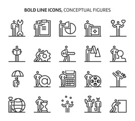Conceptual figures, bold line icons
