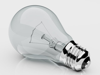electric light bulb, 3d render, gray background