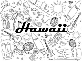 Hawaii coloring book line art design vector. Separate objects. Hand drawn doodle design elements.