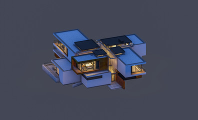 3d rendering of modern cozy house at night with garage for sale or rent. Isolated on gray.