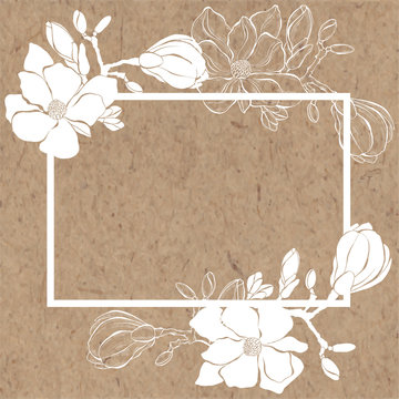 Floral background with magnolia and place for text on kraft paper. Vector frame. Rectangle.  It can be an invitation, a greeting card or an element of your design.