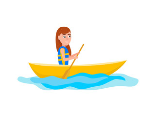 Kayaking Girl Sitting in Boat Vector Illustration