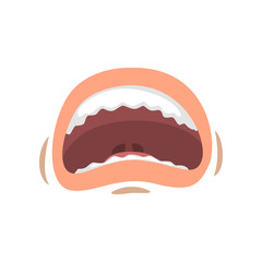 Open in fear female mouth, emotional mouth of young woman vector Illustration on a white background