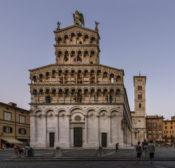 The beautiful Church of San Michele in Foro at the blue hour, Lucca, Tuscany, Italy