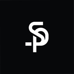 Outstanding professional elegant trendy awesome artistic black and white color SP PS initial based Alphabet icon logo.