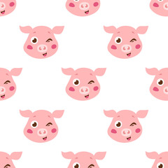 Cute pigs seamless pattern