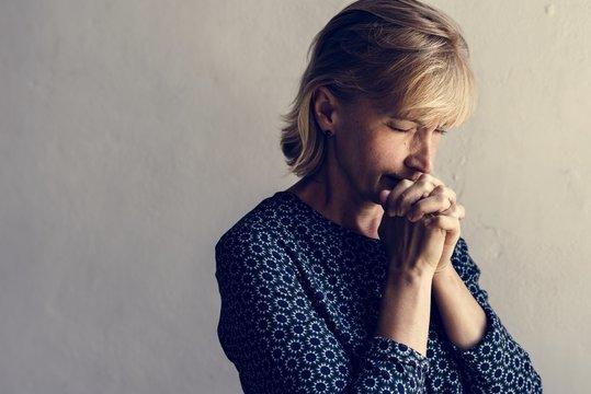 Caucasian woman prayer faith in christianity religion