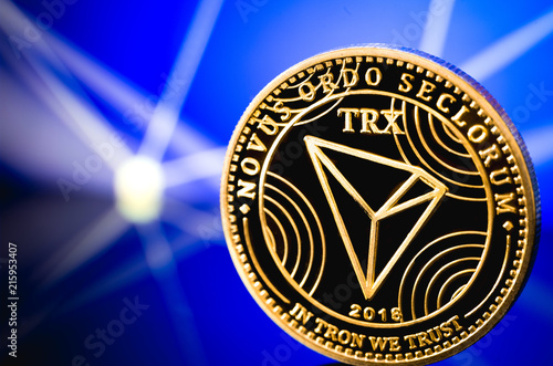 tron coin cryptocurrency on the digital background