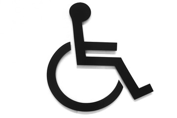 wheelchair symbol for disabled person in black and white