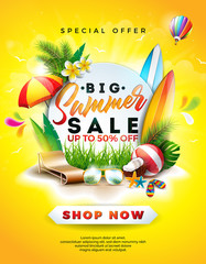 Summer Sale Design with Flower, Beach Holiday Elements and Exotic Leaves on Yellow Background. Tropical Floral Vector Illustration with Special Offer Typography for Coupon, Voucher, Banner, Flyer