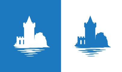 Icon with European Medieval Falkirk Castle in colors of Scottish National Flag