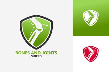 Bones And Joints Shield Logo Template Design Vector, Emblem, Design Concept, Creative Symbol, Icon