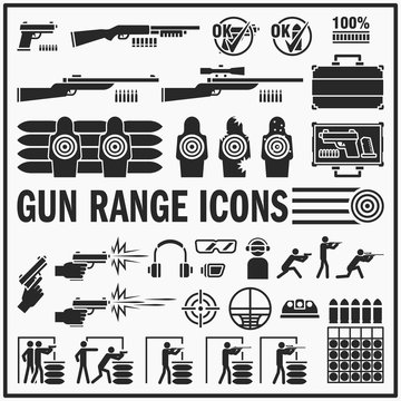 Set of gun range vector bold icon design. Live fire and shooting range signs and symbols.