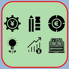 Simple 6 icon set of business related profits, pencil, yen and euro vector icons. Collection Illustration
