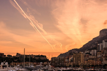 Monaco, Monte Carlo harbor in the French Riviera at dusk.