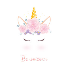 Cute unicorn head with flower crown.