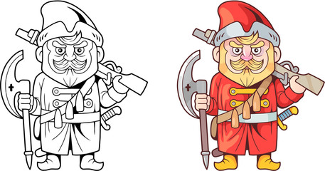 cartoon funny russian soldier of the sixteenth century, design coloring book