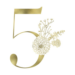 Floral figure. Vintage decorative gold numeral