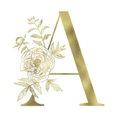 Floral alphabet and serif letter.