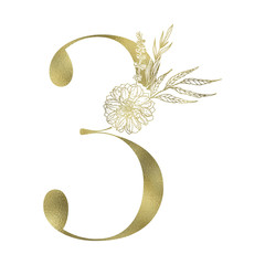 Floral figure. Vintage decorative gold numeral