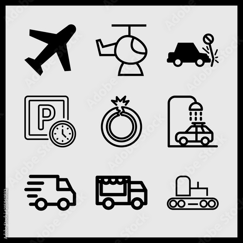 Simple 9 Icon Set Of Car Related Flat Tire Plane Delivery And Food