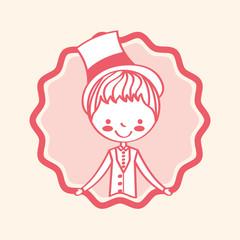 cartoon character groom wedding label vector illustration