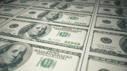 Conveyor of printing hundred-dollar bills seamless animation business concept 3d illustration