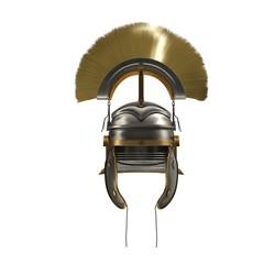 Roman Helmet with Crest on white. 3D illustration