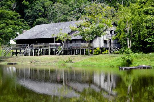 Long house in Sarawak  Malaysia