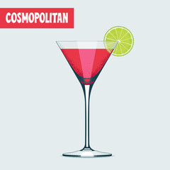 Martini cocktail glass with red drink vector