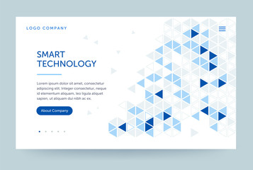 Homepage template. Header for website and mobile website. Concept of computer technology. Abstract geometric element. Vector illustration.