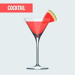 Martini cocktail glass with watermelon vector