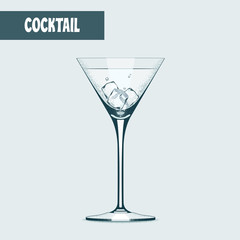 Martini cocktail glass with icevector illustration