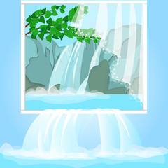 Realistic picture with forest waterfall. Nature protection, environmental protection. Water is poured into the interior through the picture on the wall. Vector cartoon close-up illustration.