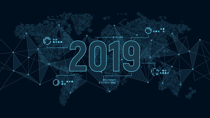Modern futuristic template for 2019 on background with polygons connection structure and world map in pixels. Digital data visualization. Business technology concept. Fototapete