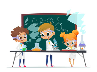 Funny little girl doing and two boys experiments in the laboratory. Explosion in the laboratory. Science and education for kids. Chemistry laboratory with pupils. Vector illustration