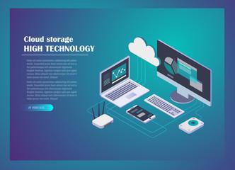Cloud storage concept isometric design