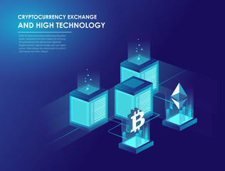 Cryptocurrency and blockchain isometric
